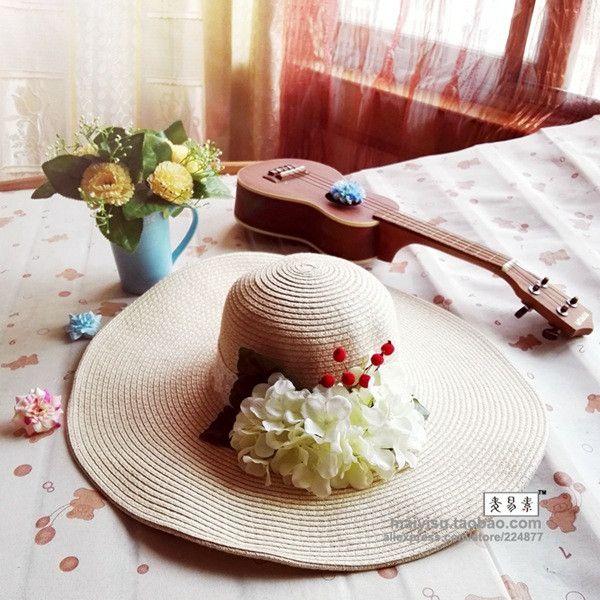 Fashion Women's Foldable Wide Large Brim Ladies'Cap Beach Floral Sun Caps Floppy Straw Hat Summer Hats for Women