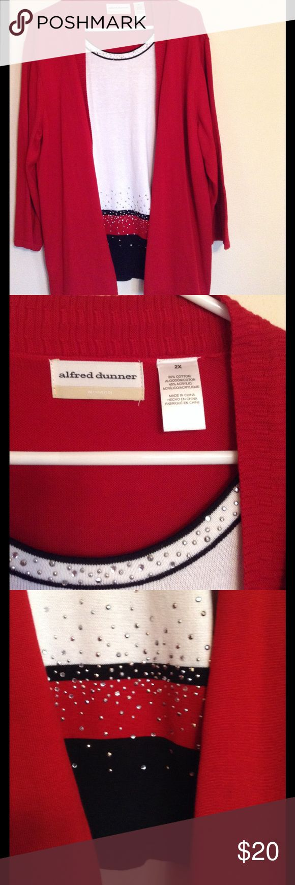 Alfred Dunner layered look sweater This sweater is attached but looks layered. Lots of  beautiful bling dress it up. Alfred Dunner Sweaters Crew & Scoop Necks