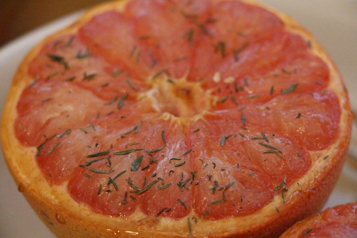 Broiled Grapefruit with honey, sugar and thyme. A simple and delicious grapefruit recipe!