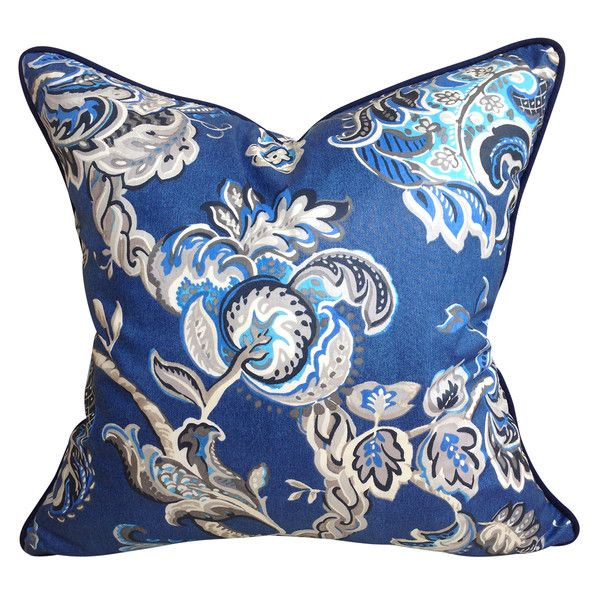 Navy & Ivory Floral Chintz Cushion