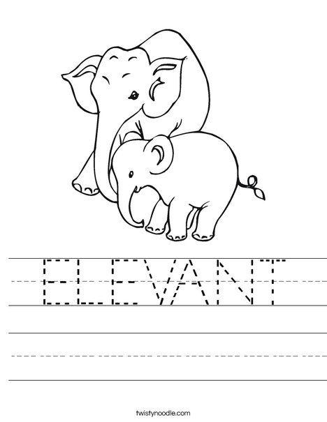 ELEVANT Worksheet - Twisty Noodle | Worksheets, Elephant ...