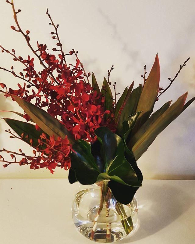 Tropical vase arrangement showing off red spider orchids.
