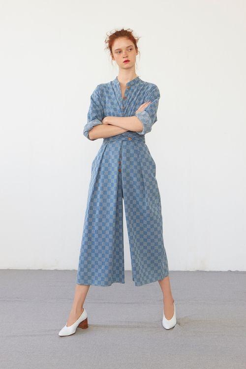 Heinui - ERNEST jumpsuit (bleached sashiko-embroidered cotton)