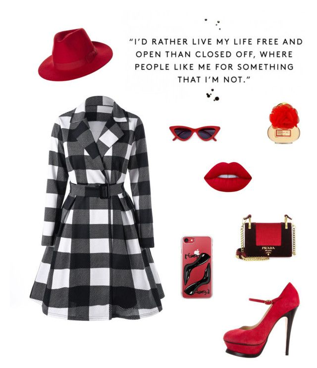 Sleek & Sexy by derpyluvsherdoctorhooves on Polyvore featuring polyvore fashion style Yves Saint Laurent Prada Casetify Lime Crime Brixton clothing
