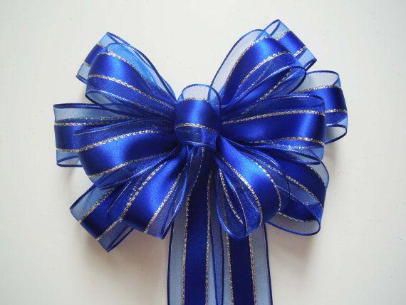 Royal Blue Silver Wedding Bow Blue Silver Satin by greentraderllc,