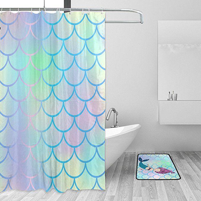 Yzgo Bright Fish Scale Beautiful Mermaid Shower Curtain Bathroom