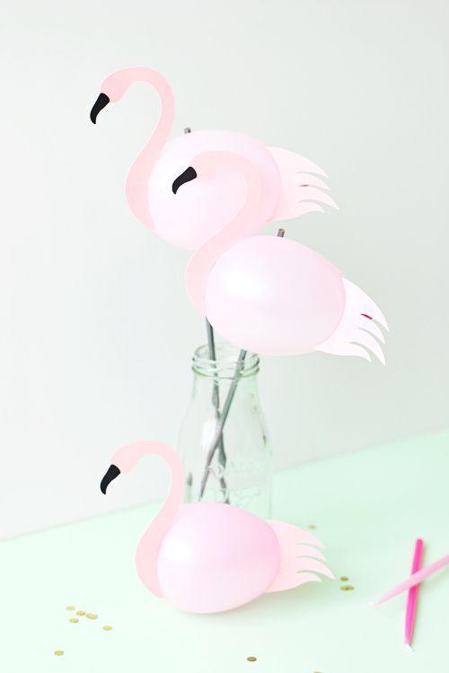 Diy ballon flamingo party deko idee flamingo for Pinke party deko