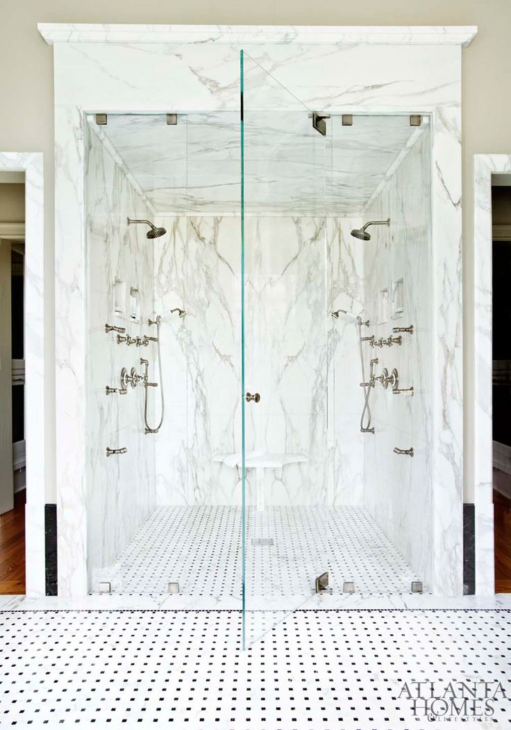 Marble Shower Design by Barbara Westbrook, Westbrook Interiors   Photography by Erica George Dines   Atlanta Homes & Lifestyles  