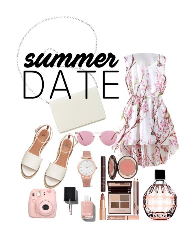 Untitled #43 by natalka-safranekova on Polyvore featuring polyvore fashion style Nine West Larsson & Jennings Oliver Peoples Jimmy Choo Charlotte Tilbury Chanel clothing summerdate rooftopbar
