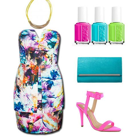 Style Guide - Outfit Inspo! Colourful strapless formal dress, with essie bright nail polish! Teal bag and neon pink shoes... So colourful and fun!