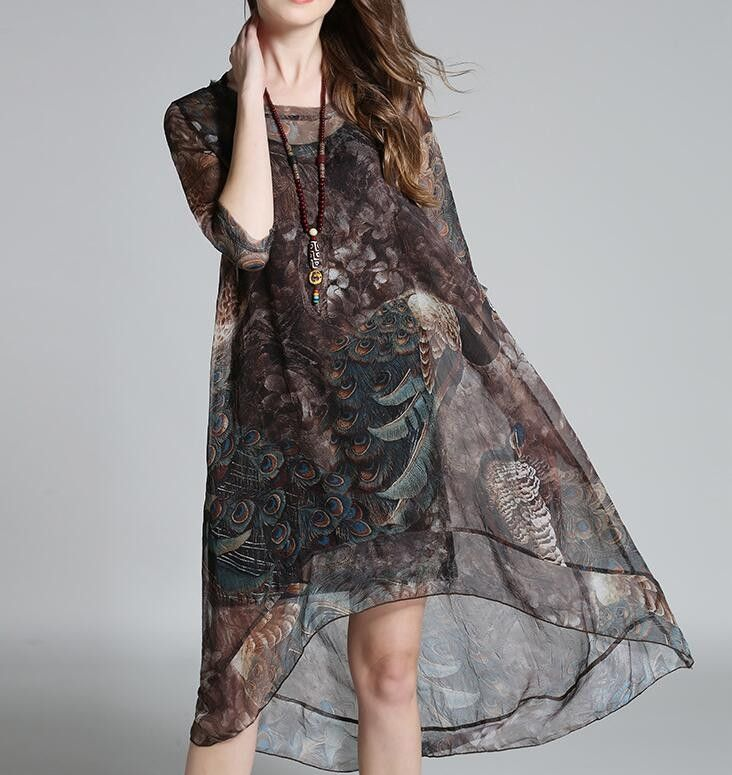 Womens Printed Tail Dress