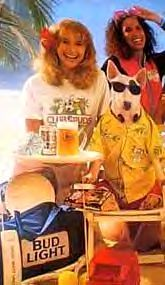 Spuds MacKenzie...The dog's real name was Honey Tree Evil Eye (October 7, 1983 - May 31, 1993). She died of kidney failure in North Riverside, Illinois