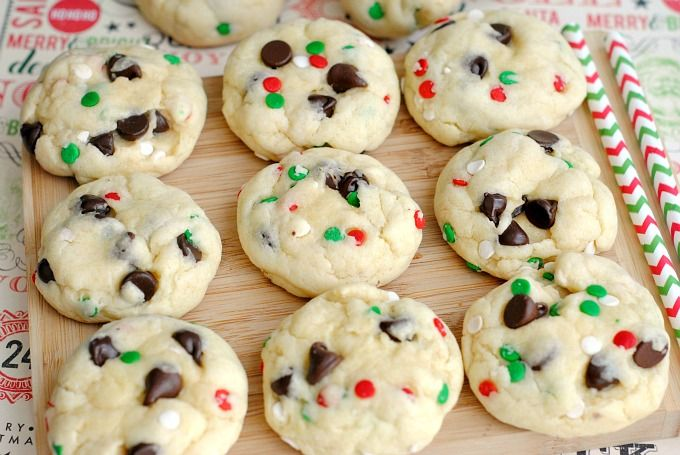 Cake Mix Chocolate Chip Santa Cookies Recipe