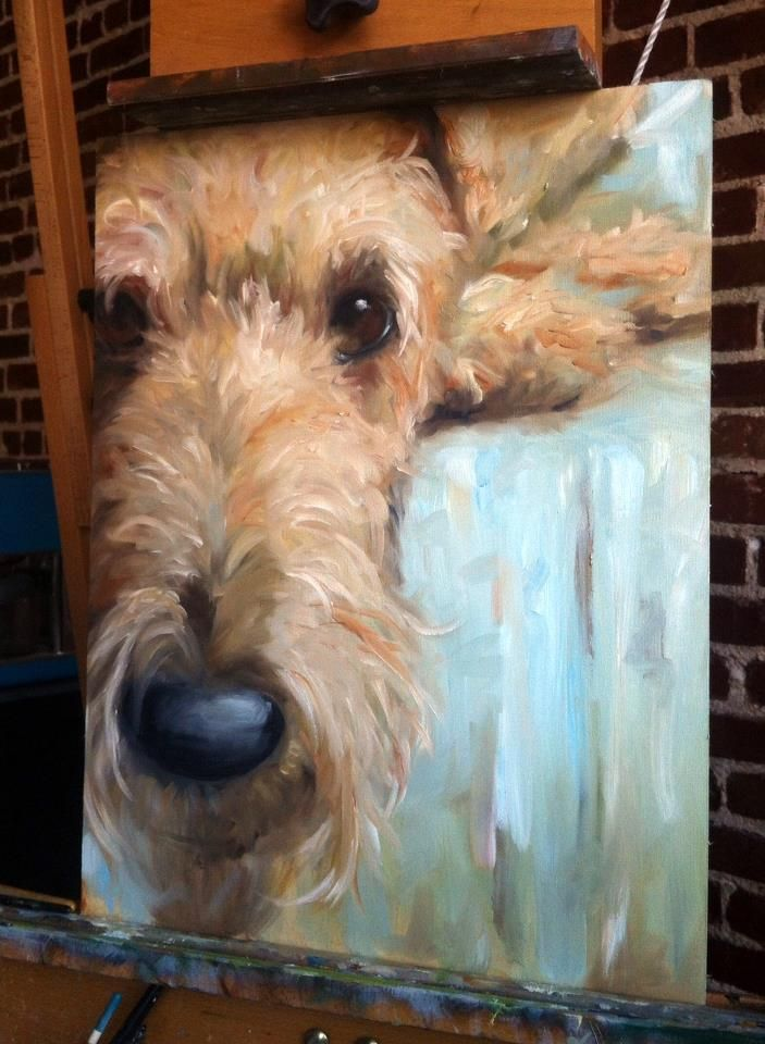Mary Sparrow Smith from Hanging the Moon Studio: Airedale Blue turquoise gold browns, this portrait is beautiful