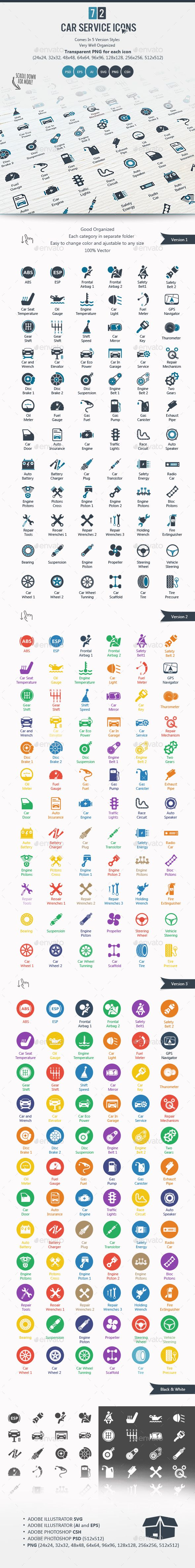 Car Service Icons — Photoshop PSD #safety belt #tire • Available here → https://graphicriver.net/item/car-service-icons/14173118?ref=pxcr