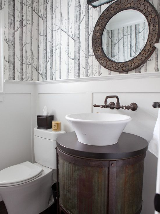 Photo Image Modern bathroom with natural materials and wallpaper