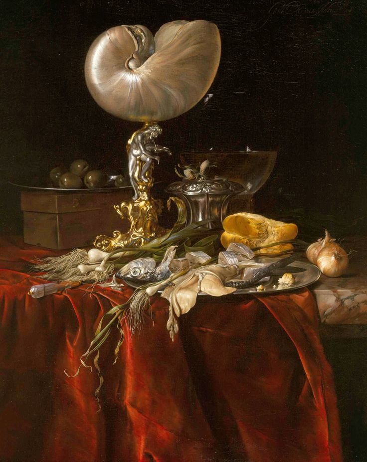 Willem van Aelst - Still Life with Fish, Bread, and a Nautilus Cup, 1678.