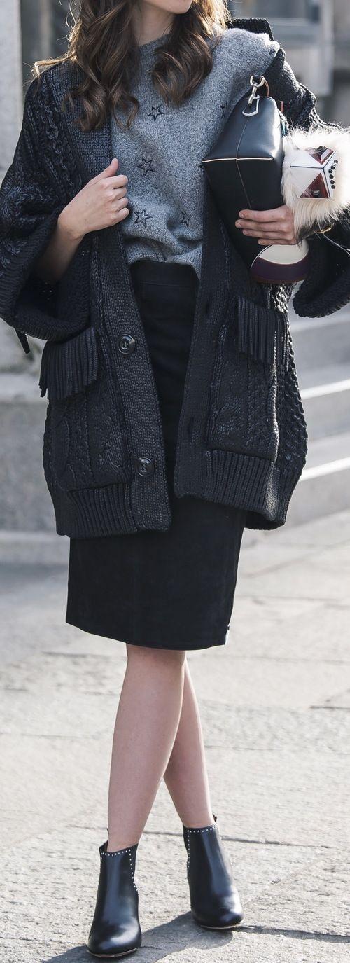 All look Bruna Rosso Saint Laurent knit Dsquared cardigan One Teaspoon skirt Fendi bag Givenchy boots Valentino sunglasses