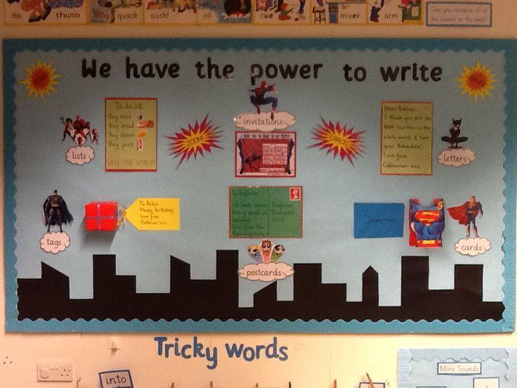 Superhero writing display