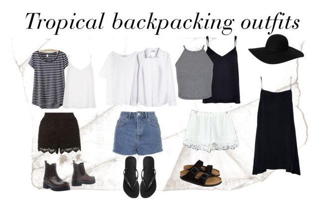 Lightweight and mix-matchable outfits for travelling in a tropical climate - I'm backpacking Cambodia/SE Asia for at least a month at the end of the year and only taking carry on luggage.  featuring Topshop, Acne Studios, H&M, River Island, Miss Selfridge, James Perse, Monki, Samuela Pace and Havaianas