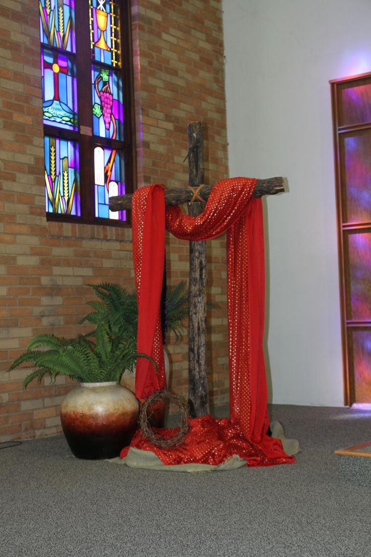 Palm Sunday old rugged cross in our church Sanctuary.