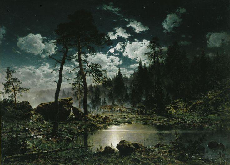 Hjalmar Munsterhjelm: Forest Pool in Moonlight, 1883.