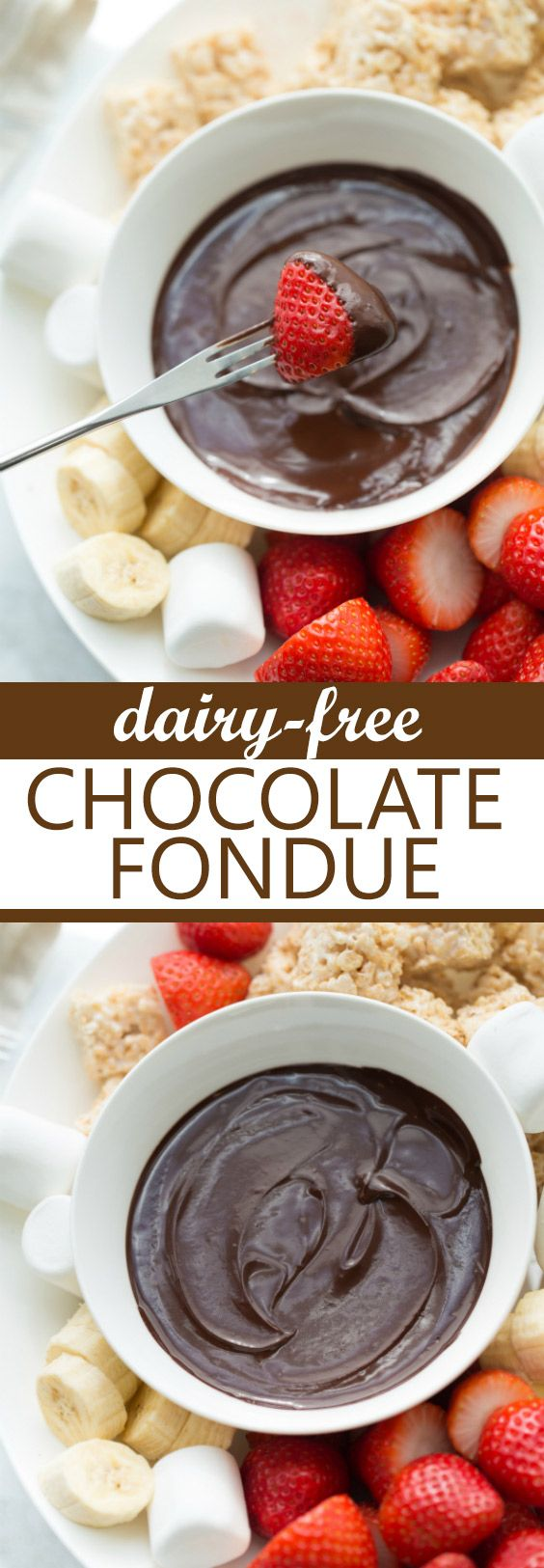 Dairy-Free Chocolate Fondue! Rich, decadent and perfect for all the dipping! #glutenfree #chocolatefondue #glutenfreevalentinesday #dairyfreetreats #glutenfreetreats #fondue #chocolate #chocolatevalentinesrecipes #valentinesdesserts #glutenfreedessets