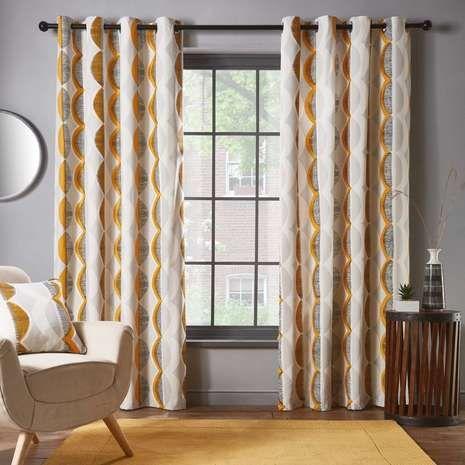 Elements Mala Ochre Eyelet Curtains | Dunelm