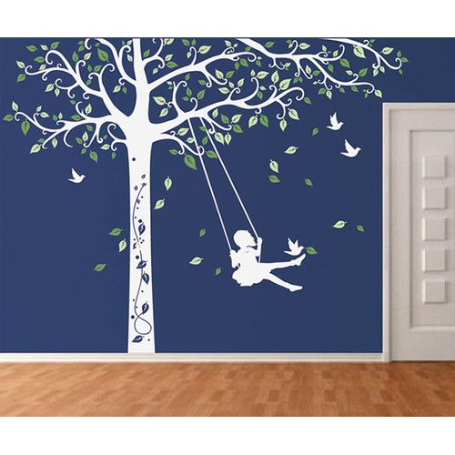 Tree Decal with Swing Girl Removable Vinyl Art Wall Decal | Wayfair