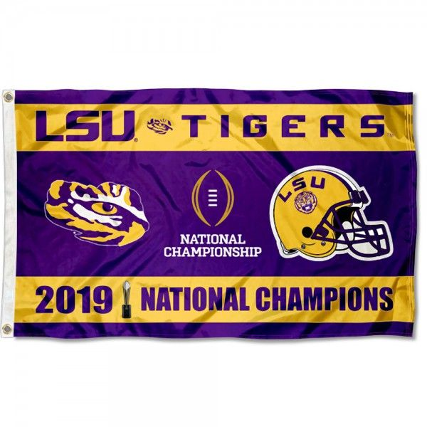 National Cfp Champions 2020 2019 Lsu Tigers 3x5 Foot Flag In 2020 Lsu