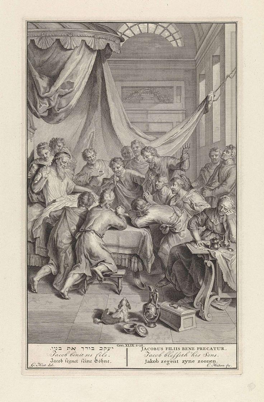 Cornelis Huyberts   Jakob zegent zijn zonen, Cornelis Huyberts, 1720 - 1728   Jakob, in een bed onder een baldakijn, maakt met zijn rechterhand een zegenend gebaar. Om het bed staan en knielen zijn twaalf zonen. Tegen de rechtermuur staan waarschijnlijk Efraïm en Manasse, de twee zonen van Jozef. Rechts een vrouw zittend aan een tafel. Onder een verwijzing naar Gen. 49:1-28 en de titel van de prent in Hebreeuws, Frans, Duits, Latijn, Engels en Nederlands.
