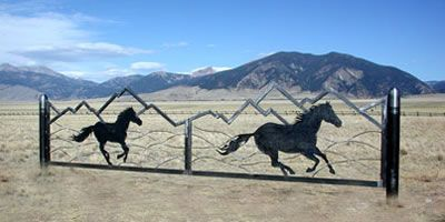Running Horses Sculptural Steel Gate