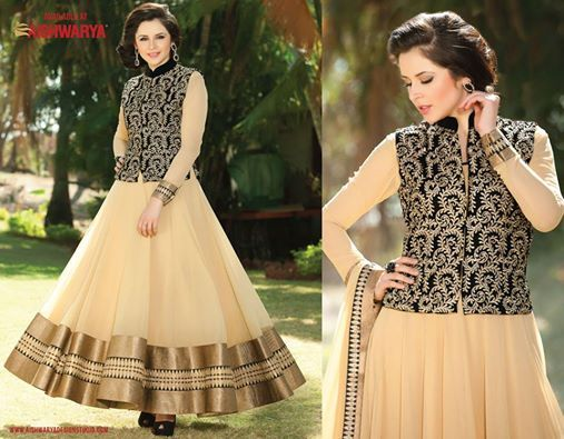 You simply cannot go wrong with this elegant anarkali Salwar Kameez with bold zari & sequined Jacket that simply screams beautiful!  Get anarkali Salwar Kameez Online: http://www.aishwaryadesignstudio.com/aishwarya%20exclusive%20suits/15511-jacket-style-black-beige-color-anarkali-suit.aspx