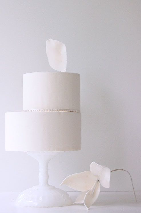 This simple, modern cake is accented with pearl beading and a single petal.