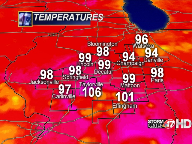 Current Temperatures on July 02, 2012 at 3:30 PM CDT from WAND-TV StormCenter 17.