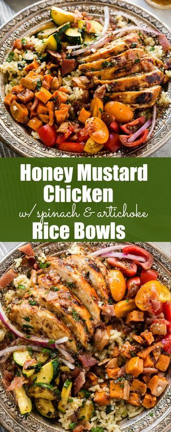 Need recipes for holiday leftovers, but also need quick and easy healthy recipes? Sweet honey mustard chicken with spinach and artichoke rice bowls are it! via @ohsweetbasil