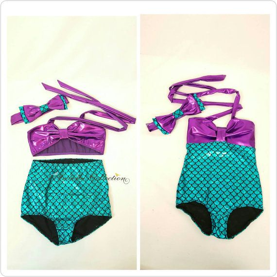 Aribella Collection Mermaid Swimsuits in the following 5 styles:  • One Piece in Green/Purple Color • One Piece in Aqua Blue/Purple Color • Two Piece in Green/Purple Color • Two Piece in Aqua Blue/Purple Color • Two Piece Ruffle Top in Green/Purple Color  As a BONUS, I will also include the matching bow for FREE!  **PLEASE NOTE: The free bow you will receive for the green one piece & green two piece swimsuits is smaller in size as compared to bow shown in the phot...