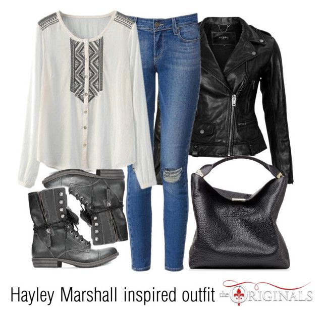"""Hayley Marshall inspired outfit/TO"" by tvdsarahmichele ❤ liked on Polyvore featuring VIPARO, Paige Denim, American Rag Cie and Burberry"