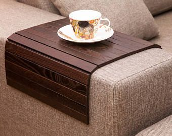 Sofa Tray Table BROWN, Tray Table, Small Apartment, Beer Table, Ottoman  Wooden