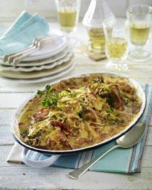 Das Rezept für Ofenschnitzel  mit Zwiebel-Porree-Rahm und weitere kostenlose Rezepte auf LECKER.de