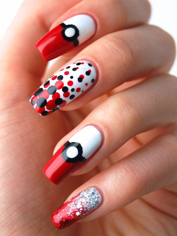 Don't care for the Pokemon, just like the dotted nail design - 36 Best Pokemon Nail Art Design Tutorial & Videos By Nded Images On