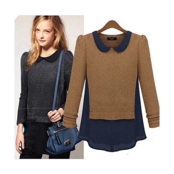 Khaki Women Spring Autumn Winter Long Sleeve Knit Contrast Chiffon Sweaters