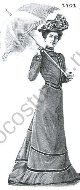 Костюм женский. Строгий фасон. 1901 год
