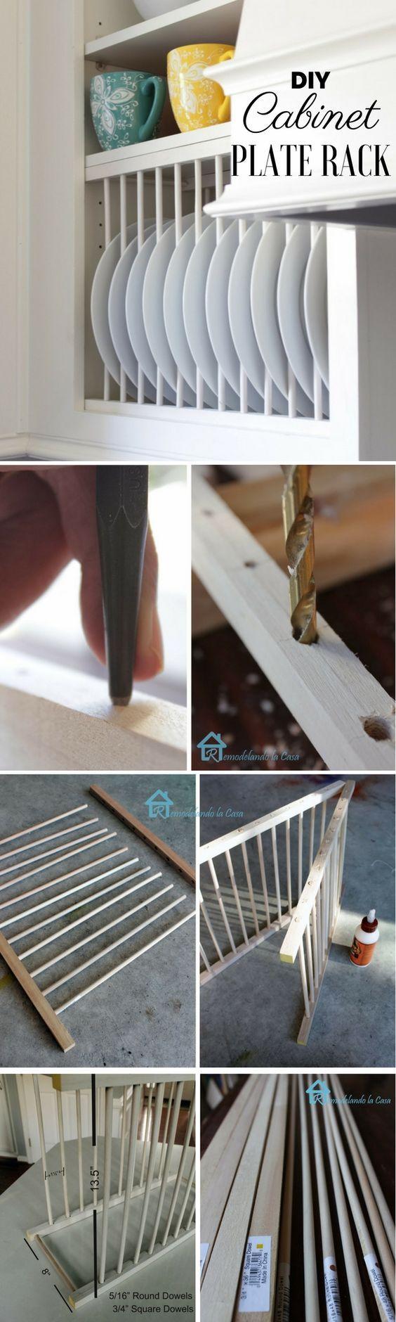 Under cabinet plate rack plans free - 15 Organization Diys That Will Make Your Kitchen Pretty Plate Rackscabinet Plate Rackkitchen