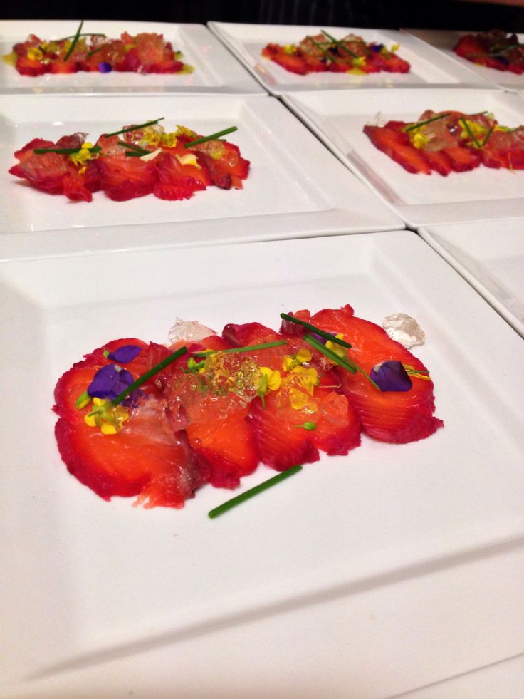 Beet cured salmon Riesling jelly flowers #timwhittykitchentakeovers