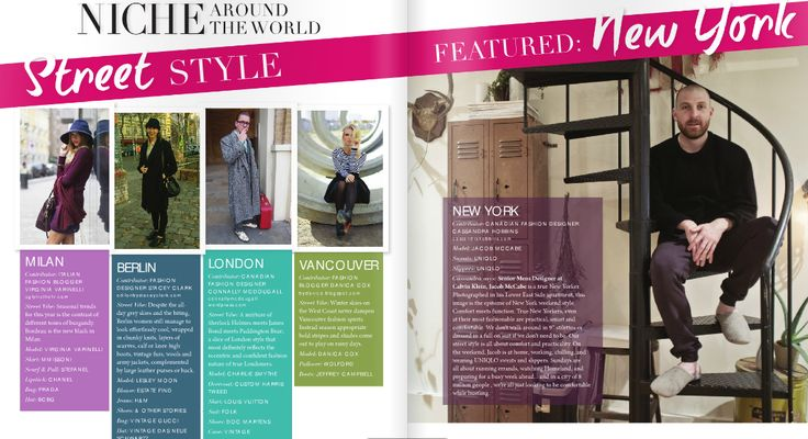 NICHE AROUND THE WORLD: Street Style featuring- Vancouver, Berlin, London, New York and Milan  Read more online: http://www.nichemagazine.ca/digital-editions/winter-2014/