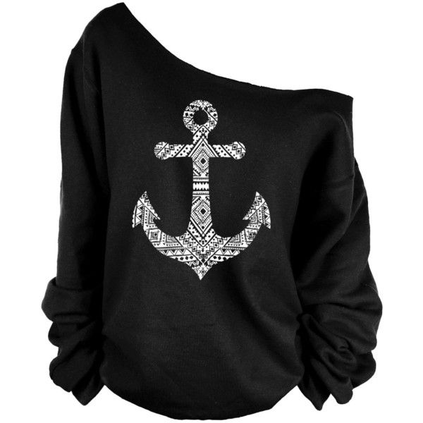 Anchor Print Oversized Off Shoulder Raw Edge Sweatshirt (£19) ❤ liked on Polyvore featuring tops, hoodies, sweatshirts, shirts, sweaters, long sleeves, dark olive, women's clothing, oversized long sleeve shirt and oversized shirt