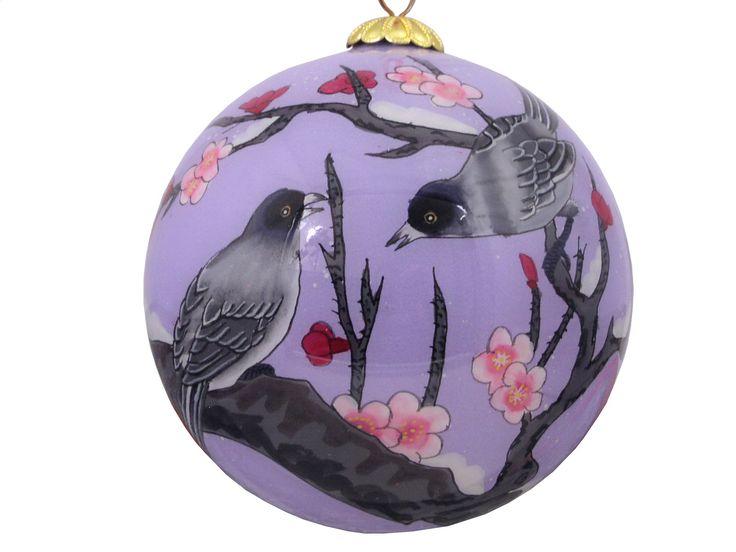 Birds on Plum Blossom Branch Purple Eglomise Ornament
