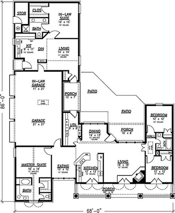 House With Garage And Full In Law Apartment: Multi Generation Floor Plan: