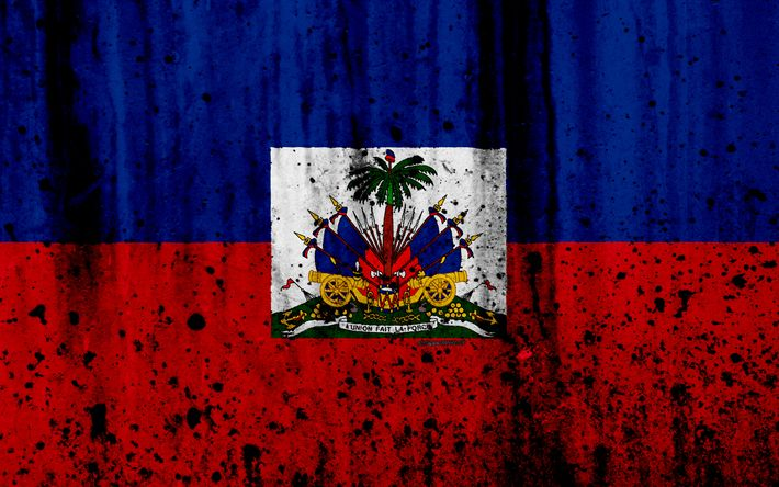Download wallpapers Haitian flag, 4k, grunge, flag of Haiti, North America, Haiti, national symbols, coat of arms of Haiti, Haitian coat of arms, Haiti national emblem